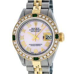 Rolex Ladies 2 Tone Pink Mother Of Pearl Roman & Emerald Datejust Wristwatch