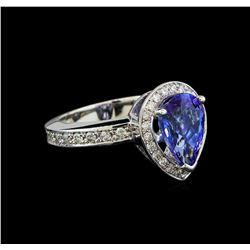 2.90 ctw Tanzanite and Diamond Ring - 14KT White Gold
