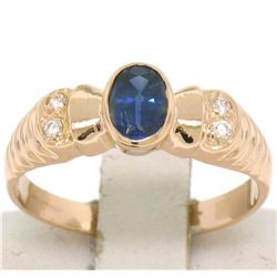 Vintage 18kt Rose Gold 0.68 ctw Sapphire and Diamond Ring