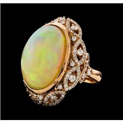 22.36 ctw Opal and Diamond Ring - 14KT Rose Gold