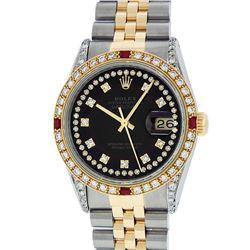 Rolex Mens 2 Tone Black String Diamond Lugs & Ruby Datejust Wristwatch
