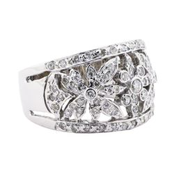 1.38 ctw Diamond Wide Band Floral Ring - 14KT White Gold