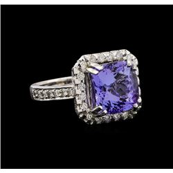 14KT White Gold 4.73 ctw Tanzanite and Diamond Ring