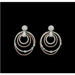 1.14 ctw Diamond Earrings - 14KT Rose and White Gold