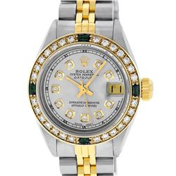 Rolex Ladies 2 Tone Grey Diamond & Emerald 26MM Datejust Wristwatch