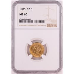 1905 $2.5 Liberty Head Quarter Eagle Gold Coin NGC MS66