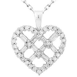 14k White Gold 0.50CTW Diamond Pendant, (I1 /H-I)