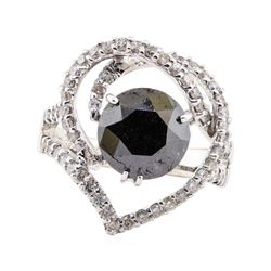3.33 ctw Black Diamond and Diamond Ring - 18KT White Gold
