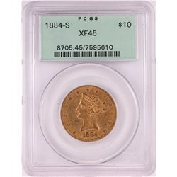 1884-S $10 Libery Head Eagle Gold Coin PCGS XF45