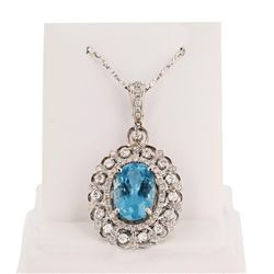 5.17 ctw Aquamarine and 1.10 ctw Diamond 14K White Gold Pendant