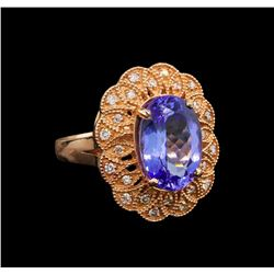 14KT Rose Gold 5.34 ctw Tanzanite and Diamond Ring