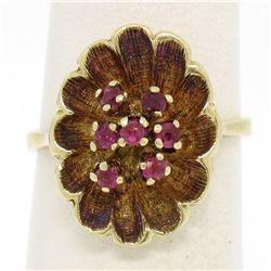 Vintage 14k Yellow Gold 0.25 ctw Round Ruby Cluster Brushed Texture Flower Ring
