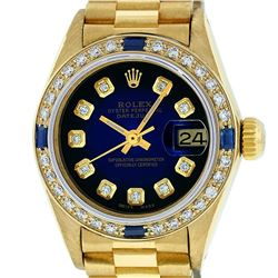 Rolex Ladies 18K Yellow Gold Sapphire Blue Vignette Diamond President 26mm Wrist