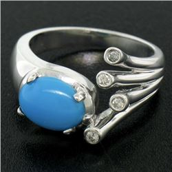 14kt White Gold 1.23 ctw Cabochon Turquoise and Diamond Cocktail Ring
