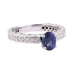 1.87 ctw Blue Sapphire And Diamond Ring - 14KT White Gold