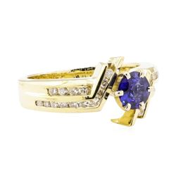 0.99 ctw Blue Sapphire And Diamond Ring - 14KT Yellow Gold