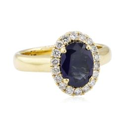 1.48 ctw Sapphire and Diamond Ring - 14KT Yellow Gold