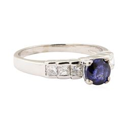 1.34 ctw Blue Sapphire and Diamond Ring - 14KT White Gold
