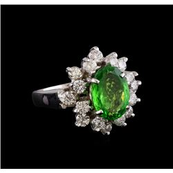 2.51 ctw Tsavorite and Diamond Ring - 14KT White Gold