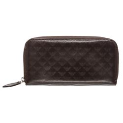 Emporio Armani Dark Brown Leather Zipper Wallet