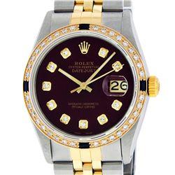 Rolex Mens 2 Tone Maroon VS Diamond & Sapphire Datejust Wriswatch