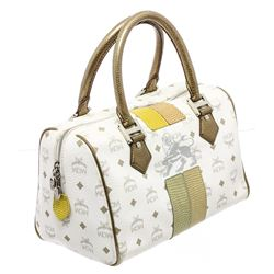 MCM Gold & White Visetos Coated Canvas Leather Boston Bag