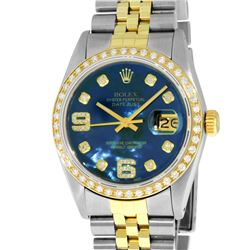 Rolex Mens 2 Tone Blue MOP Diamond 36MM Datejust Wristwatch