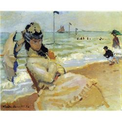 Claude Monet - Camille on the Beach at Trouville