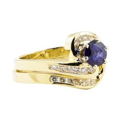 1.47 ctw Blue Sapphire And Diamond Ring And Band - 14KT Yellow Gold