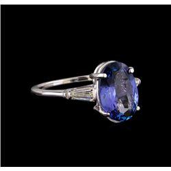 14KT White Gold 3.35 ctw Tanzanite and Diamond Ring