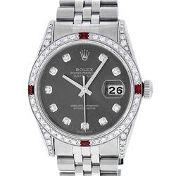 Rolex Mens Stainless Steel Diamond Lugs Rhodium Diamond & Ruby Datejust Wristwat
