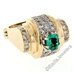 14kt Yellow Gold 2.10 ctw Oval Emerald and Round Diamond Cocktail Ring w/ Arthri
