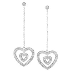 14k White Gold 0.38CTW Diamond Earrings, (I1 /I)