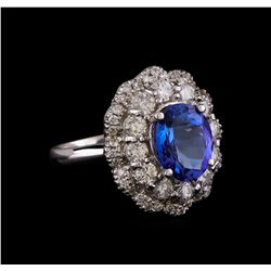 14KT White Gold 3.15 ctw Tanzanite and Diamond Ring