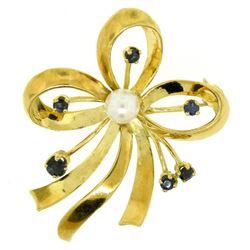 18k Yellow Gold Multi Ribbon Sapphire and Pearl Elegant Pin Brooch