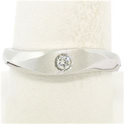 Men's Textured 14K White Gold Bead Set Round Diamond Solitaire Band Ring Sz 9.5