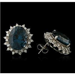 14KT White Gold 17.00 ctw Blue Topaz and Diamond Earrings