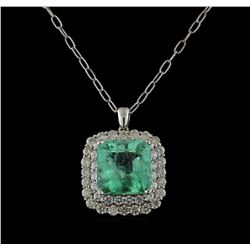 18.09 ctw Emerald and Diamond Pendant With Chain - 14KT White Gold