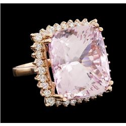 34.86 ctw Kunzite and Diamond Ring - 14KT Rose Gold