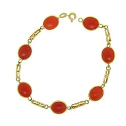 18k Yellow Gold 7 Oval Bezel Set Matched RARE Red Coral Link Bracelet