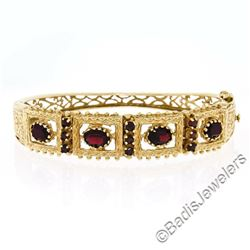 Vintage 14kt Yellow Gold 4.50 ctw Garnet Etched Open Wide Bangle Bracelet