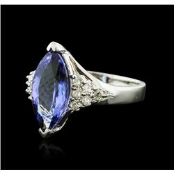 14KT White Gold 3.70 ctw Tanzanite and Diamond Ring