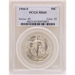 1944-S Walking Liberty Half Dollar Coin PCGS MS65