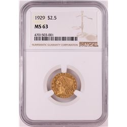 1929 $2.5 Indian Head Quarter Eagle Gold Coin NGC MS63