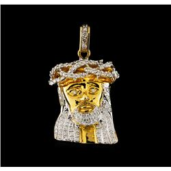 1.10 ctw Diamond Jesus Pendant - 10KT Yellow Gold