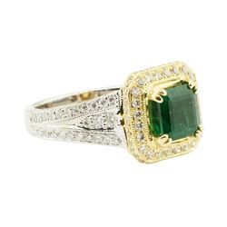 3.11 ctw Square Step Emerald And Diamond Ring - 18KT White And Yellow Gold