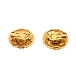 Chanel Vintage Gold CC Logo Rope Round Clip On Earrings