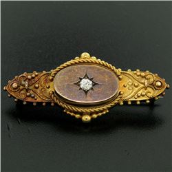 Antique Victorian 15k Yellow Gold Old Mine Cut Diamond & Twisted Wire Brooch Pin