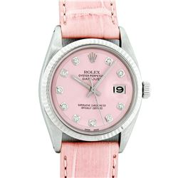 Rolex Stainless Steel Pink Diamond 36MM Datejust Wristwatch With Pink Leather St