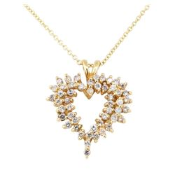 1.00 ctw Diamond Heart Shaped Pendant with Chain - 14KT Yellow Gold